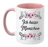 TassenTicker - Ich Hasse Menschen - beidseitig Bedruckt - Tasse - Kaffeetasse - Kaffeebecher - lustig - Geschenk - Arbei
