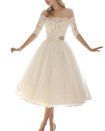 Damen Schulterfrei Hochzeitskleid Brautjungfer Abendkleider Cocktailkleid Chiffon Kleid Weiß L