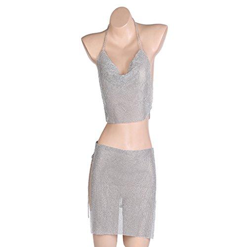 Strass Rock Anzug (Gyan Damen Schmuck Nachtclub Strass BH-Kette Schlinge Tief v Diamant Rock Anzug Körperkette,Silver)