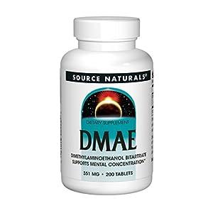 Source Naturals | DMAE (DiMethylAminoEthanol) | 351 mg | 200 vegetarische Tabletten | glutenfrei