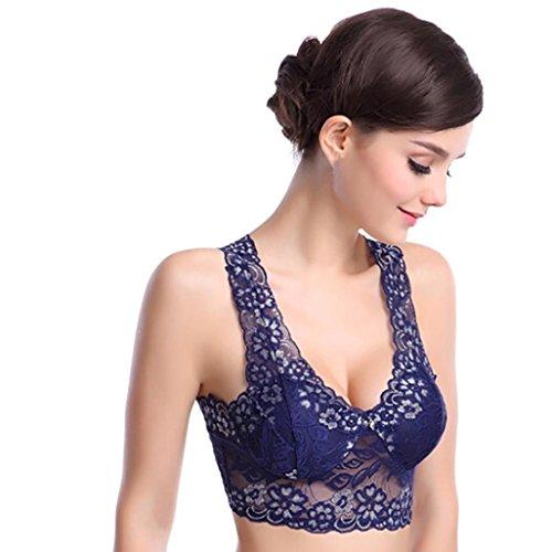 Amlaiworld damen Elastischer Blumen Spitze BH Schöne elegant Unterwäsche bunt Yoga sport bh für Mädchen (M, Blau) (Bügel Demi Bh Baumwolle)