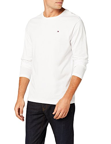 Tommy hilfiger - cotton cn tee ls icon, t-shirt da uomo, bianco (white 100), l