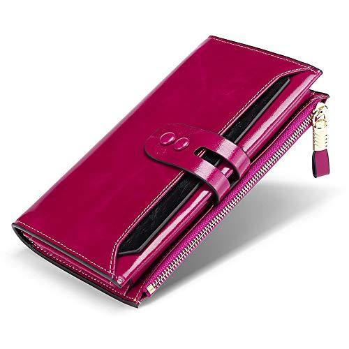 BaiGe Damen Geldbörse mit RFID-blockierender Geldbörse mit großer Kapazität, echtes Leder, Geldbörse mit Reißverschlusstasche Violett violett M - Gucci Card Wallet
