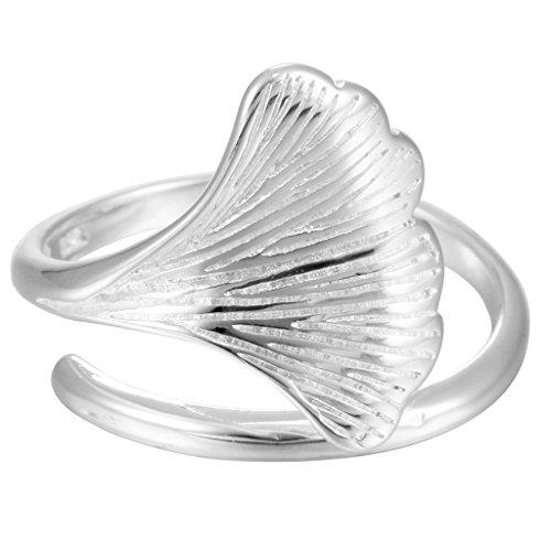 925Sterling Silber handgefertigt Ginkgo Leaf offen verstellbar Finger Ring Weihnachten Schmuck für Frauen Mädchen