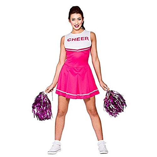 (Travelday Damen-Highschool Cheerleader-Abendkleid -Up Party Halloween-Kostüm-Ausstattung (Size S UK10-12) Rosa)