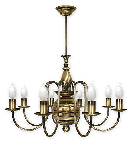 Pompöse Hängeleuchte in Messing 8xE14 bis 60W 230V aus Stahl Wohnzimmer Esszimmer Lampe Leuchten...