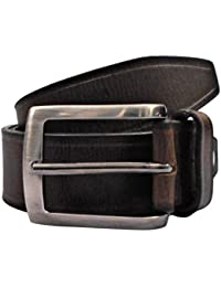 POLO INTL Men's Leather Belt (Dark Brown, 32 inches)