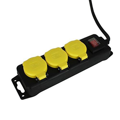 Steckdosenleiste Outdoor mit Größenauswahl - Mehrfachsteckdose - Verteilersteckdose (3er)