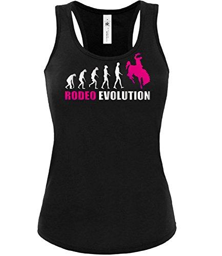 Rodeo Evolution 4442 Cowboy Frauen Damen Fun Tank Top Funshirt Tanktop Sportbekleidung Fanartikel Shop shirt tshirt Schwarz aufdruck Pink XL