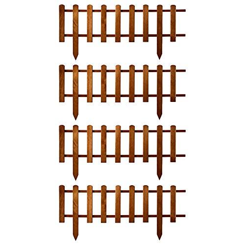Floranica® 4 x Vorgarten Zaun aus Holz, wetterfest imprägniert - Steckzaun, Minizaun, Zierzaun als Gartenzaun, Lattenzaun, Farbe:braun, Größe:40 cm hoch. 4x105 cm lang