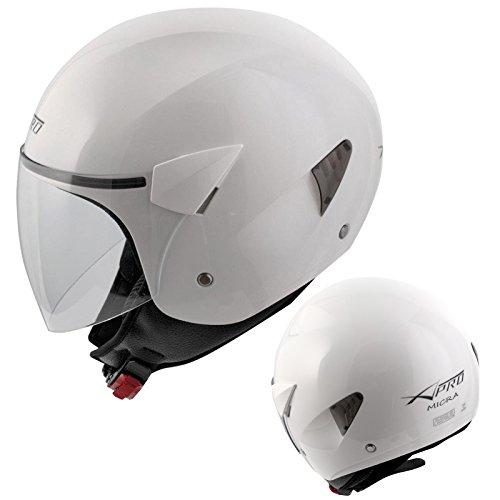 A-Pro casco a viso aperto con visiera antigraffio per motociclo, motocicletta e scooter Motorcycle, bianco, M