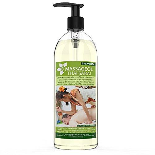 Massageöl Thai Sabai 1-Liter (1000ml) MyThaiMassage Premium Soft Neutral & Hautpflege mit wertvollen Jojobaöl & Mandelöl