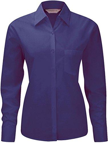 Russell Damen Long Sleeve Poly Baumwolle pflegeleichte Popeline Shirt/Top Violett - Violett