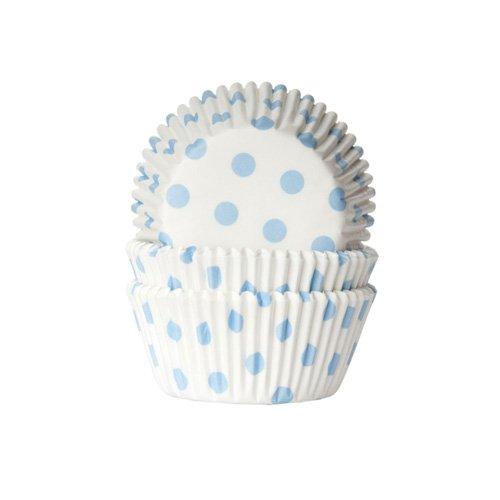 50 Polka Dot Muffinförmchen weiß hellblau