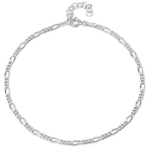 925 Fine Sterling Silver 2.7 mm Adjustable Anklet - Figaro Chain Ankle Bracelet - 9