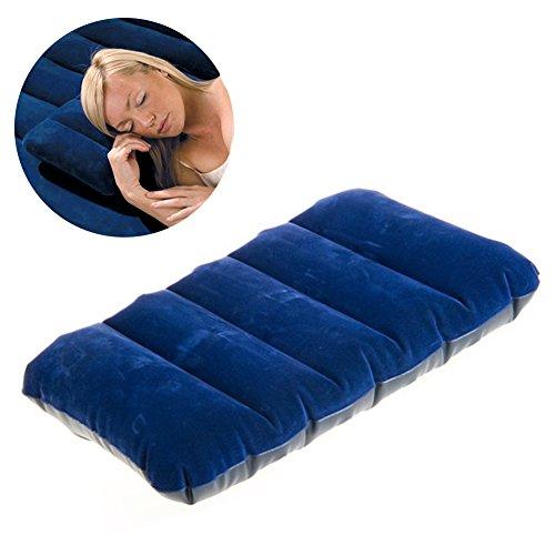 Tragbar aufblasbar beflockt KISSEN Outdoor Travel Air Cushion Pad Camping Home leicht tragbar für Nacken und Lendenwirbelstütze–in Flugzeug, Auto, Strand, Büro 47x30cm (Beflockt-nacken-kissen Aufblasbar)