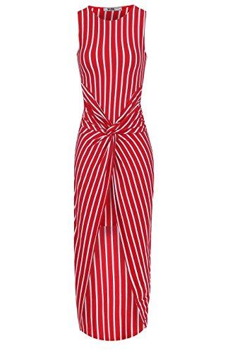 Ladies Striped Knot Twist Dress EUR Taille 36-42 Rouge