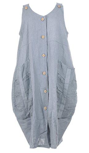 Mesdames Womens Lagenlook italienne excentrique sans manches 2 bouton sangle 2 Pocket tunique longue lin robe taille UK 10-14 Bleu clair