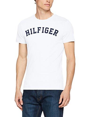 Tommy Hilfiger Herren T-Shirt SS Tee Logo, Weiß (White 100), Large