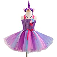 Fenical Phantasie Baby Mädchen Tutu Kleid Einhorn Stirnband Weihnachten Halloween Kostüm Mädchen Party Kleider 4-5Y (lila)