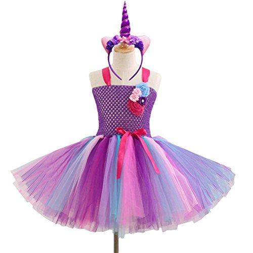 BESTOYARD Kids Girl Unicorn Rainbow Tutu Dress with Headband Birthday Party Outfit for Christmas Halloween Costume Girls Party Dresses 4-5Y (Purple)