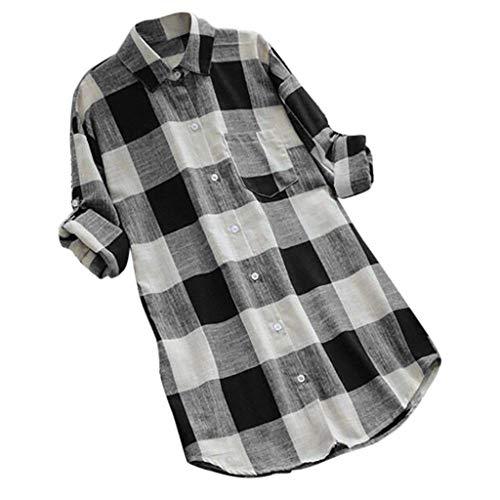 MRULIC Damen Langgitter Langarm Knöpfe Lässige Tops T-Shirt Bluse Frauen Knopf Oben Arbeitshemd Tunics(Schwarz,EU-48/CN-4XL) -