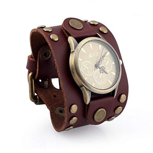 Reloj para Hombre_European Punk Reloj De Pulsera De Cuero Vintage Reloj De Hombre, Cuero Personalizado Al por Mayor, Marrón
