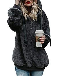 Dokotoo Damen Oberteile Herbst Wolle Hoodie Winter Sweatshirt Tops  Langarmshirt mit Taschen Strickjacke S-XXL e9e9565989