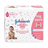 Johnson's Baby Gentle All Over Wipes, 224 Count (56 x 4), Enriched with Silk Extract, pH Balanced for Delicate Skin