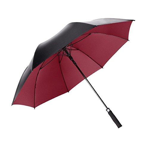 BUKUANG Handmade EVA Canne Double Canopy Parapluie Windproof En Fibre De Verre Solide Cadre Auto Open Qualité Crook Poignée 300T Finest Tissu Classique BLACK,Red