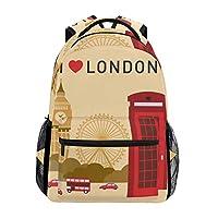 LIUBT I Love London Symbols Big Ben Casual Backpack Student School Bag Travel Hiking Camping Daypack