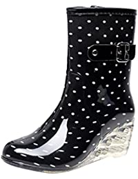 LvRao Zapatos de Tacón Alto Botas Con Cremallera de las Mujeres | Botas de Agua Damas Patrón de Punto Botines de Lluvia Wellies