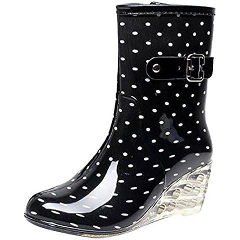 LvRao Zapatos de Tacón Alto Botas Con Cremallera de las Mujeres | Botas de Agua Damas Patrón de Punto Botines de Lluvia