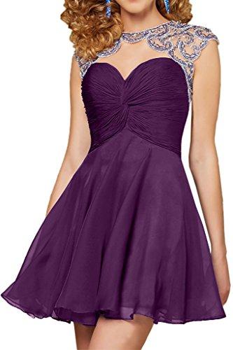 Royaldress Blau Chiffon Steine Mini Abendkleider Damen Promkleider ...