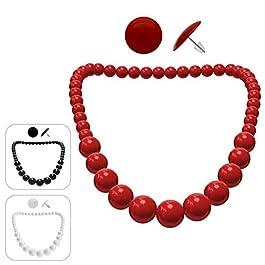 Soul-Cats® 1 collana di perle + 1 paio di orecchini tondi SET