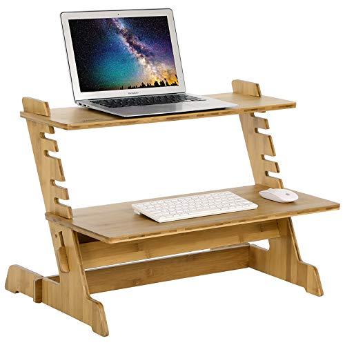Workstation Riser (Songmics Bambus stehend Computer-Schreibtisch Monitor Ständer Riser Ständer Steady bis höhenverstellbar Desktop Laptop Workstation Konverter natur ulld97N)