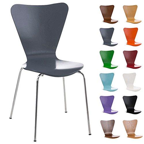 CLP Stapelstuhl CALISTO, Holzsitz, ergonomisch geformter Sitzfläche, Besucherstuhl, Wartezimmerstuhl, stabiles Chromgestell, Grau