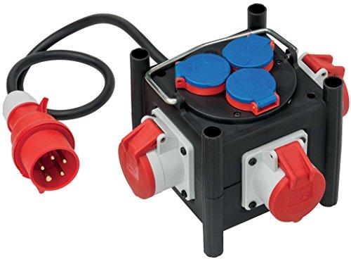Brennenstuhl Kompakter Gummi-Stromverteiler (1 m Kabel, 3x CEE 400V/16A, 3x 230V/16A, Baustelleneinsatz und ständigen Einsatz im Freien) schwarz