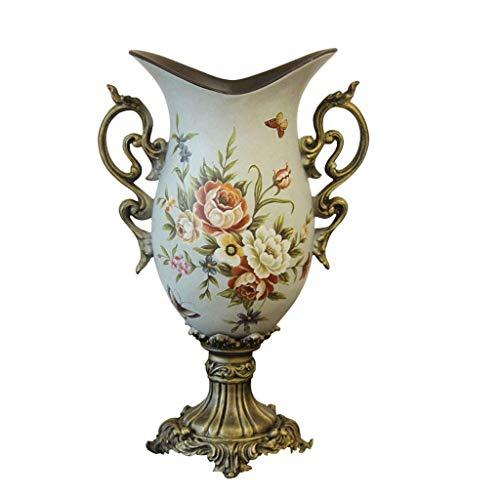 QIANDING HPING Keramik Bodenvase Europäische Mode Hohe Füße Mit Harz Binaural Design, Verwendet Für Zu Hause Esszimmer Neues Haus Hotel Dekoration, Blume Einfügung hohe 46,5 cm Keramikvase