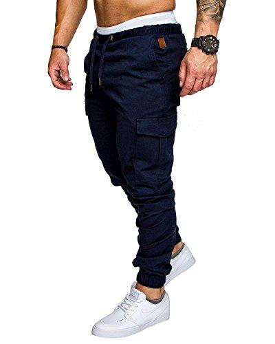 Pantalon Cargo Slim Homme Casual Été Pantalons Jogging Multi Poche Cordon de Serrage Baggy Style Pants