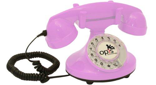 OPIS FunkyFon cable: Retro Telefon mit Wählscheibe in geschwungenem 1920er Stil mit elektronischer Klingel (pink)