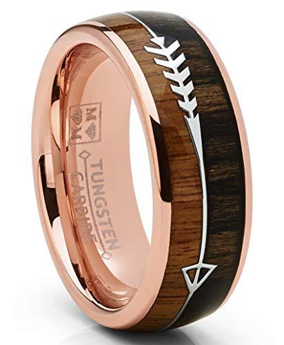 Metal Masters Co. Rosé vergoldeter Wolframkarbidring Pfeil Ehering Jagd Ring Koa Holz Inlay