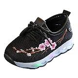 Sannysis Kinder Baby Jungen Mädchen Stickerei Blume Sport Lauf LED Leucht Schuhe Turnschuhe