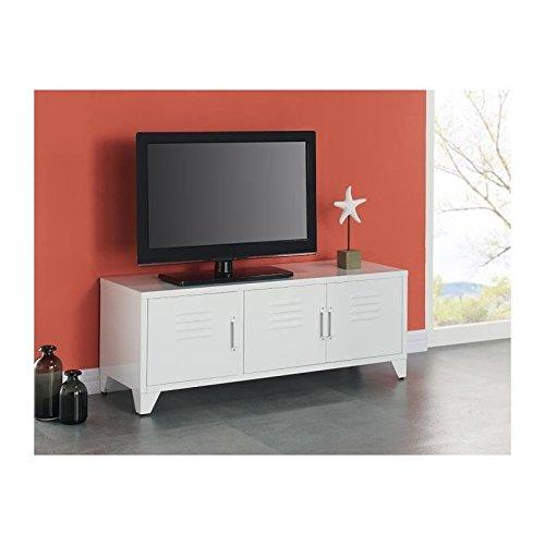 Camden meuble tv 120 cm - blanc laqué