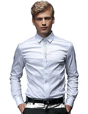 FANZHUAN Camice Uomo Elegante Maniche Lunghe Slim Fit Classica Moda Men Shirt