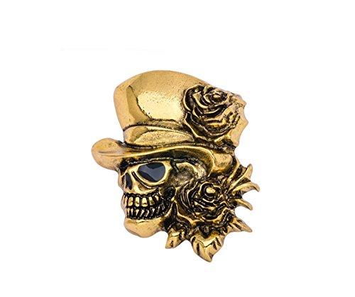 Brosche Reverskragen, Zubehör Biker 3D Thema Punk Rock Schädel tragen Hut Zauberer mit der Rosen, goldfarben Vintage Antik und Emaille schwarz (Harley-damen-hut)