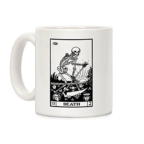LookHUMAN Death Tarot Kaffeetasse aus Keramik, 325 ml, Weiß (Usa Halloween-kostüm Team)