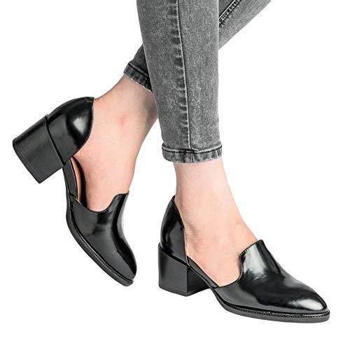 Mokassins Damen Heels Leder Pumps Loafer Blockabsatz 5cm Sommer Low Top Ankle Schuhe Elegante Vintage Flats Bequem Schwarz Blau Gr.35-43 BK42