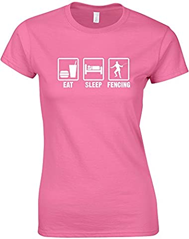 Eat Sleep Fencing, Mesdames T-shirt Imprimé - Azalée/Blanc M = 82-86cm
