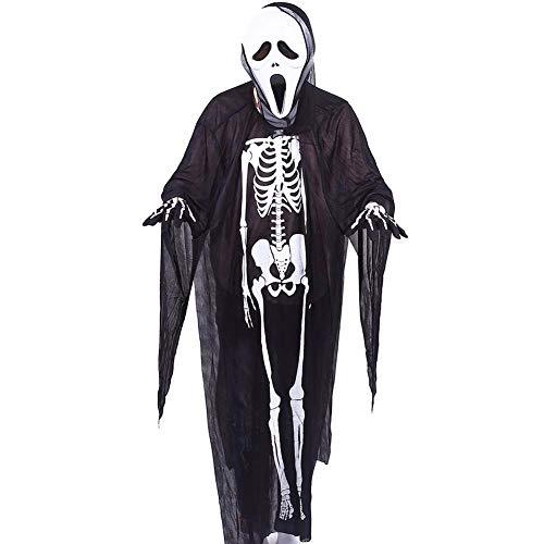 Tianzhiyi Weihnachtsdekoration Halloween Ghost Skeleton Kostüm, Screaming Mask Handschuhe Anzug Maskerade Schädel Kleidung Cosplay Devil Dekoration Requisiten (Color : Color 1) (Kostüm Screaming Ghost)